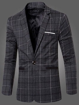 Ericdress Vogue Slim Plaid Men's Blazer
