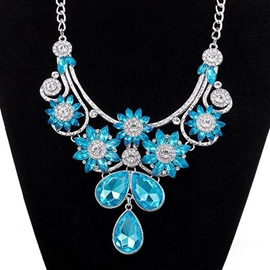Ericdress Blue Crystal Glass Pendant Necklace