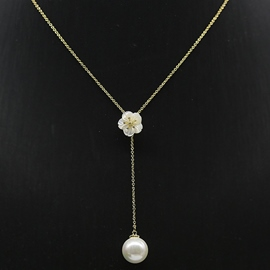 Ericdress Shell Flower Pearl Pendant Necklace