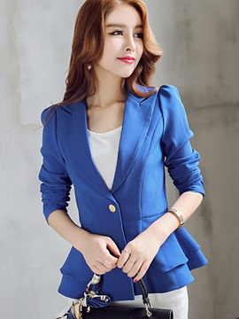 Ericdress Solid Color Slim Frill Blazer