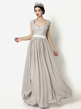 Ericdress A-Line Sweetheart Cap Sleeves Beaded Sashes Sequins Floor-legnth Evening Dress