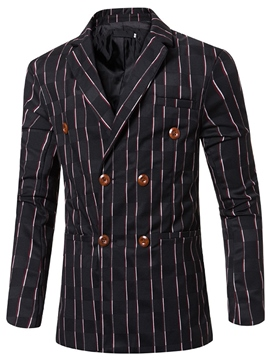 Ericdress Stripe Vogue Double-Breasted Men's Blazer