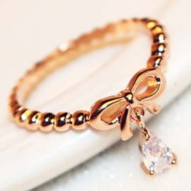 Ericdress Concise Bowknot Beading Ring