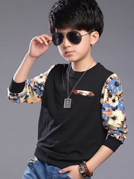 Ericdress Floral Printed Patchwork Thread Boys Tops