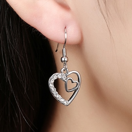 Ericdress Heart-Shaped Pendant Earrings