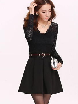 Ericdress Summer Long Sleeve V-Neck A-Line Casual Dress