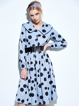 Ericdress Polka Dots Single-Breasted Vintage Casual Dress