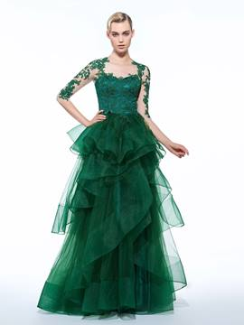 Ericdress A-Line Scoop 3/4 Lemgth Appliques Tiered Floor-Length Evening Dress