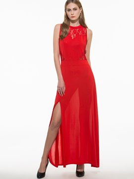 Ericdress Solid Color Split Maxi Dress