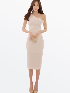 Ericdress Falbala Mesh Patchwork Mid-Calf Sheath Dress