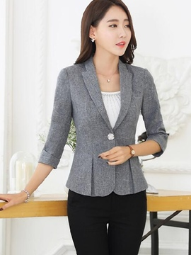 Ericdress Solid Color Pleated Slim Formal Blazer