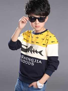 Ericdress Color Block Print Threaded Sleeve Boys Tops