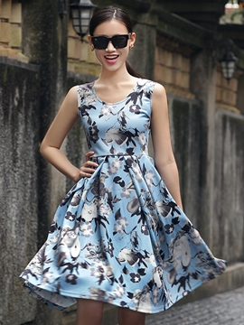 Ericdress Floral Print Sleeveless Round Neck Casual Dress