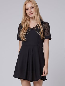 Elegant Lapel Short Sleeves Chiffon Dress