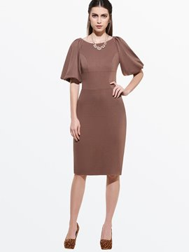 Ericdress Soild Color Lantern Sleeve Sheath Dress