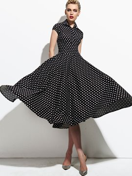 Ericdress Polka Dots Pleated Patchwork Lapel Casual Dress