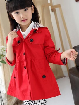 Ericdress Hooded Girls Trench Coat