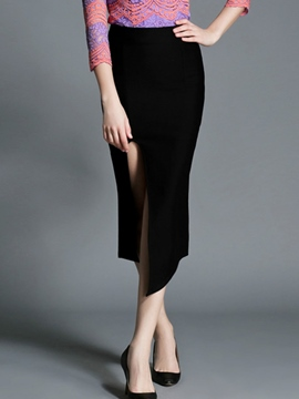 Ericdress Asymmetric Split Column Skirt