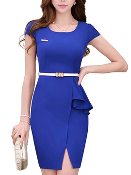 Ericdress Summer OL Style Soild Color Bodycon Dress