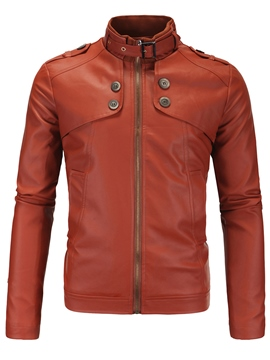 Ericdress Plain Zip Vogue PU Men's Jacket