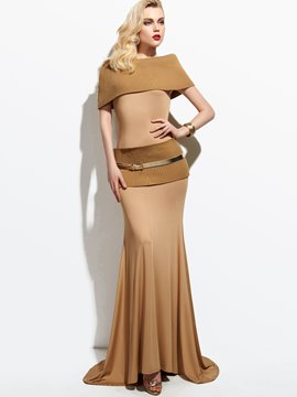Ericdress Solid Color Knitted Patchwork Maxi Dress