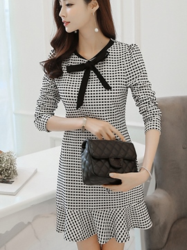 Ericdress Autumn Polka Dots Mermaid Long Sleeve Sheath Dress