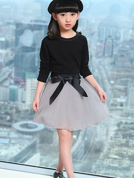 Ericdress Chic Bowknot Tie Tulle Pleated Girls Outfits