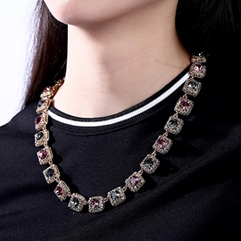 Ericdress Rose Gold Plated Crystal Necklace