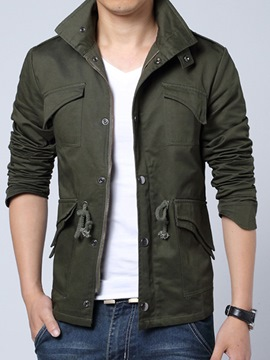 Ericdress Plain Zip Lace-Up Casual Men's Jacket