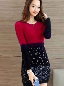 Ericdress Color Block Long Sleeve Round Neck Sweater Dress