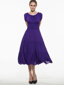 Ericdress Solid Color Lace-Up Pleated Expansion Casual Dress