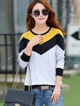 Ericdress Color Block Casual Loose T-Shirt