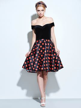 Ericdress Prom Sweetheart Slash Neck Polka Dots Casual Dress
