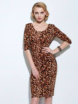 Ericdress Leopard Sheath Dress