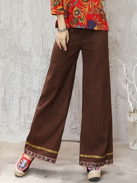 Ericdress Chinese Print Wide Legs Pants