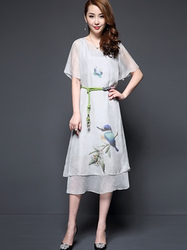 Ericdress Short Sleeve Loose Mid-Calf Length Casual Dress