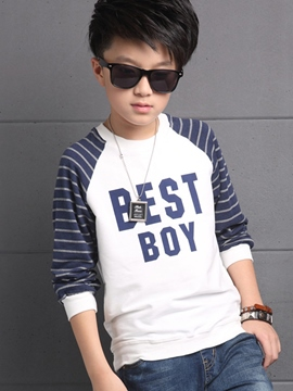 Ericdress Letter Printed Strip Patchwork Boys Tops