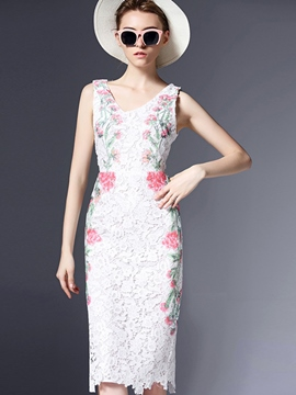 Ericdress Embroidery V-Neck Lace Dress