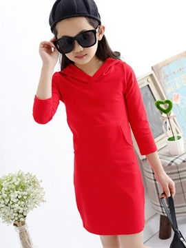 Ericdress Long Sleeve Hooded Girls Dress