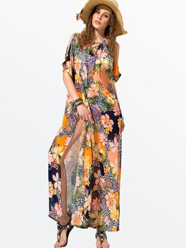 Ericdress Summer Yellow Printing Maxi Dress