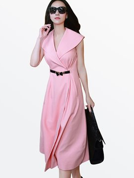 Ericdress Summer Sleeveless Lapel Solid Color Casual Dress