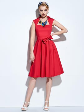 Ericdress Rockabilly Style A-Line Sleeveless Casual Dress