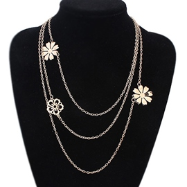 Ericdress Multilayer Metal Flower Chain Necklace