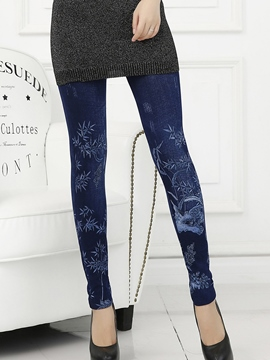 Ericdress Skinny Print Faxu Jean Leggings Pants