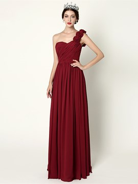 Ericdress A-Line One-Shoulder Pleats Long Evening Dress
