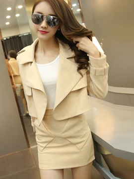 Ericdress Solid Color Jacket Two-Piece Suit