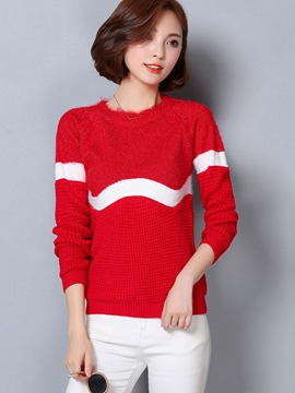 Ericdress Color Block Stripped Knitwear