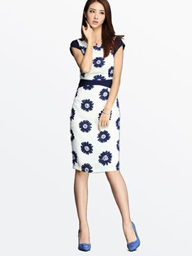 Ericdress OL Style Short Sleeve Print Sheath Dress