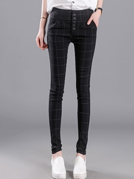 Ericdress Casual Plaid Leggings Pants