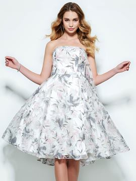 Ericdress Strapless A-Line Printed Knee-Length Homecoming Dress